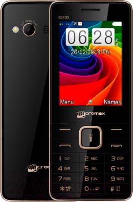 Мобильный телефон Micromax X2420 (черный) - с задней панелью