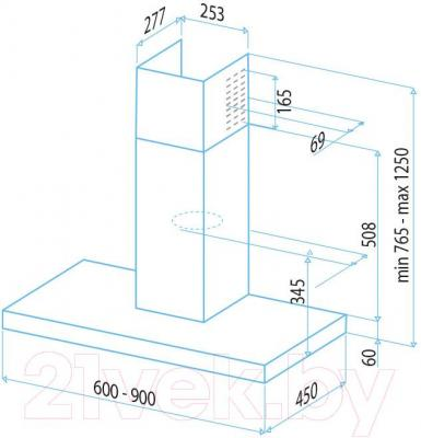Вытяжка Т-образная Best Beta 60 (нержавеющая сталь) - габаритные размеры
