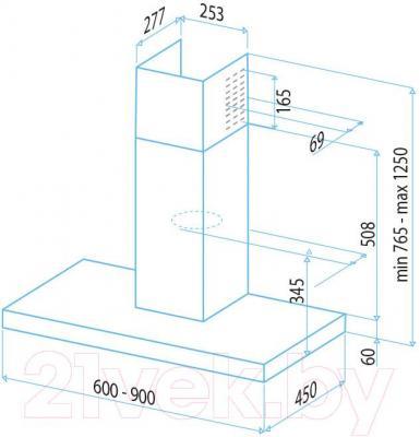 Вытяжка Т-образная Best Beta 90 (нержавеющая сталь) - габаритные размеры
