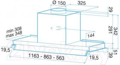 Вытяжка скрытая Best Phantom XS 60 (нержавеющая сталь) - габаритные размеры