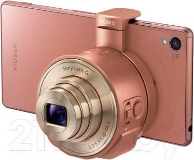 Объектив для смартфона Sony DSC-QX10 (коричневый) - подключение к смартфону
