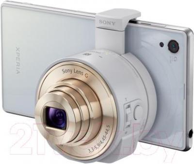Объектив для смартфона Sony DSC-QX10 (белый) - подключение к смартфону