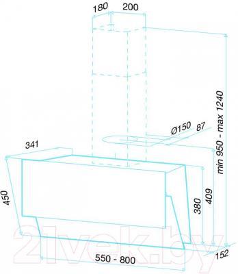 Вытяжка декоративная Best Flap 80 (белое стекло) - габаритные размеры