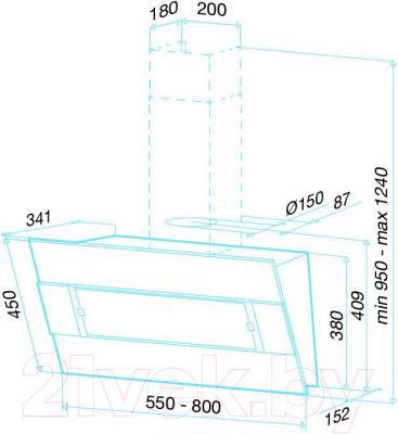 Вытяжка декоративная Best Iris 55 (белый металл) - габаритные размеры