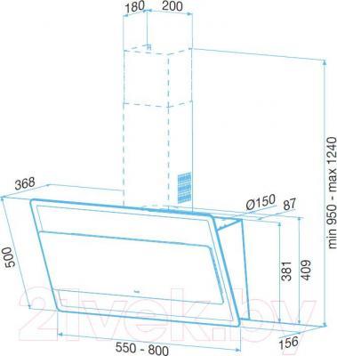 Вытяжка декоративная Best Offset 80 (белое стекло) - габаритные размеры