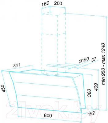 Вытяжка декоративная Best Plana 80 (черное стекло) - габаритные размеры