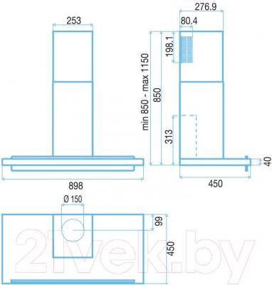 Вытяжка Т-образная Best Joint 90  (нержавеющая сталь) - габаритные размеры