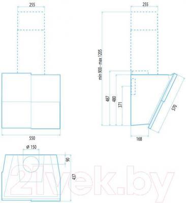 Вытяжка декоративная Best Keys 55 (сталь + черное стекло) - габаритные размеры