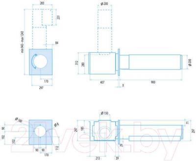 Вытяжка декоративная Best Over Side 90 (нержавеющая сталь) - габаритные размеры