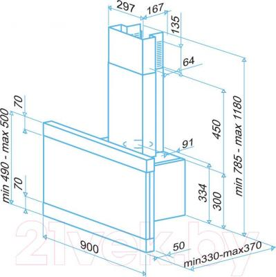 Вытяжка декоративная Best Modular 90 1000 м3/ч (нержавеющая сталь) - габаритные размеры