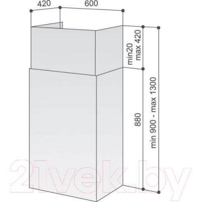 Вытяжка коробчатая Best K508S 60 (нержавеющая сталь) - габаритные размеры