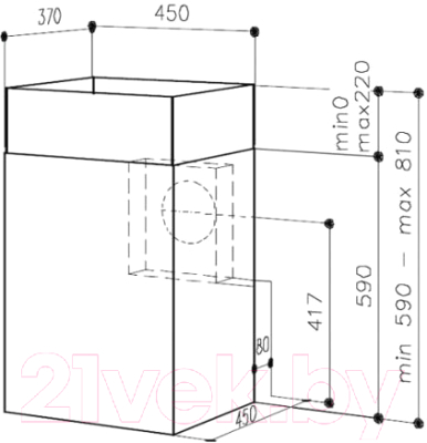 Вытяжка коробчатая Best K509 45 (нержавеющая сталь)