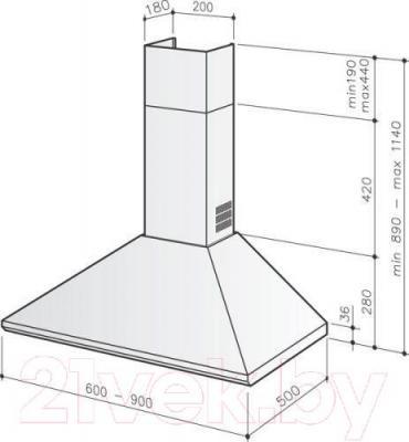 Вытяжка купольная Best K240 60 (нержавеющая сталь) - габаритные размеры