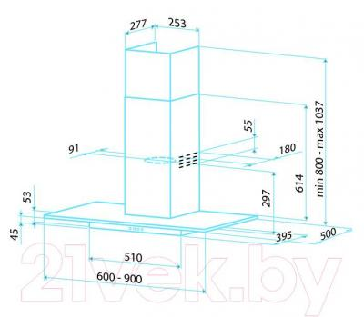 Вытяжка Т-образная Best RHO 60 (нержавеющая сталь + стекло) - габаритные размеры