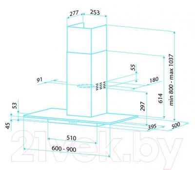 Вытяжка Т-образная Best RHO 90 (нержавеющая сталь + стекло) - габаритные размеры