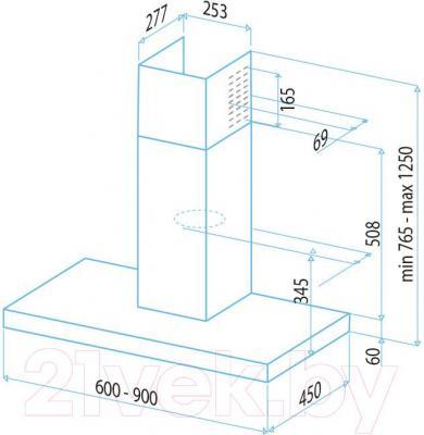 Вытяжка Т-образная Best Zeta 90 (белое стекло) - габаритные размеры