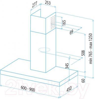 Вытяжка Т-образная Best Theta 90 (нержавеющая сталь) - габаритные размеры