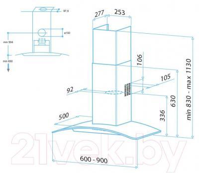 Вытяжка купольная Best Sigma 90 (нержавеющая сталь + стекло) - габаритные размеры