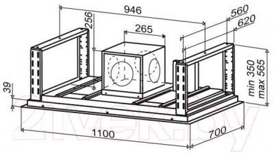 Вытяжка скрытая Best Cirrus 110 (нержавеющая сталь) - габаритные размеры