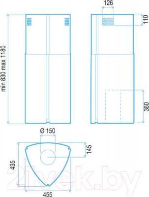 Вытяжка коробчатая Best Gloss 45 (сталь зеркальной полировки) - габаритные размеры