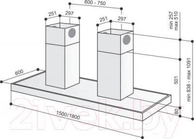 Вытяжка Т-образная Best IS ASC 7088D 180 (нержавеющая сталь) - габаритные размеры