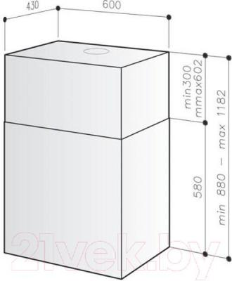 Вытяжка коробчатая Best IS ASC 508L 60 (нержавеющая сталь) - габаритные размеры