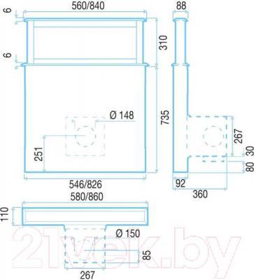 Вытяжка скрытая Best Strip 90 (белое стекло) - габаритные размеры