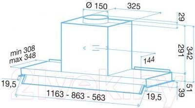 Вытяжка скрытая Best Ghost 120 (нержавеющая сталь) - габаритные размеры