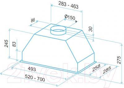 Вытяжка скрытая Best P750 70 (серый) - технический чертеж