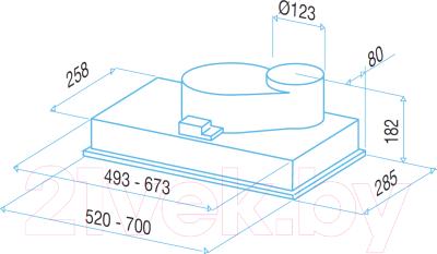 Вытяжка скрытая Best P520 52 (металлик)