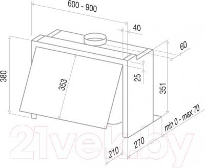Вытяжка купольная Best GI203 60 (белый) - технический чертеж