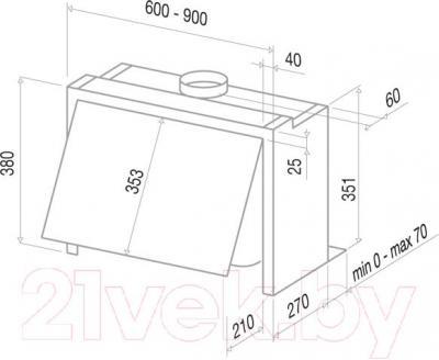 Вытяжка купольная Best GI203 60 (серый) - технический чертеж