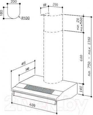 Вытяжка плоская Best SP2196 1M 50 (черный) - технический чертеж