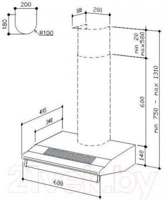 Вытяжка плоская Best SP2196 1M 50 (нержавеющая сталь) - габаритные размеры