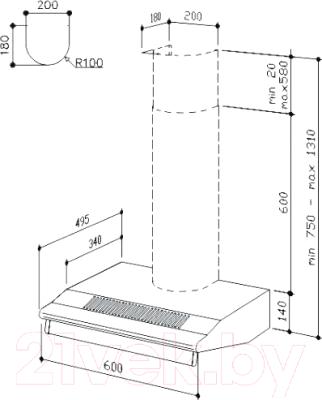 Вытяжка плоская Best SP2196 2M 60 (белый)