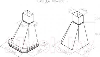 Вытяжка купольная Best Camilla 90 650м3/ч (белый) - технический чертеж