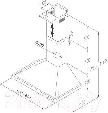 Вытяжка купольная Jetair Anny SL 50 WH - технический чертеж