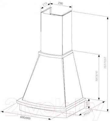Вытяжка купольная Best Bosca 60 650м3/ч (белый) - технический чертеж