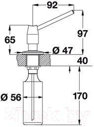 Дозатор встраиваемый в мойку Blanco Tango (хром) - габаритные размеры