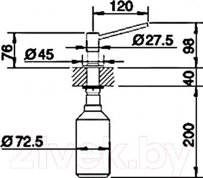 Дозатор встраиваемый в мойку Blanco Torre (нержавеющая сталь) - технический чертеж