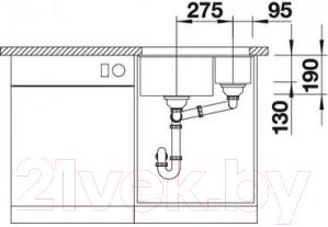 Мойка кухонная Blanco Subline 340/160-U (513795)