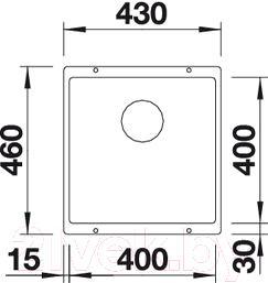 Мойка кухонная Blanco Subline 400-U (515754) - схема