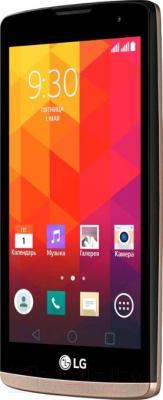 Смартфон LG Y50 Dual Leon / H324 (черно-золотой) - вполоборота