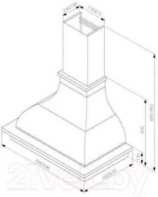 Вытяжка купольная Best Corinna 60 650м3/ч (белый) - технический чертеж
