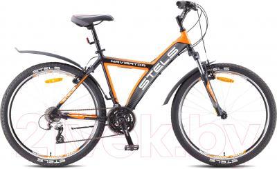 Велосипед Stels Navigator 570 V (черно-серо-оранжевый)