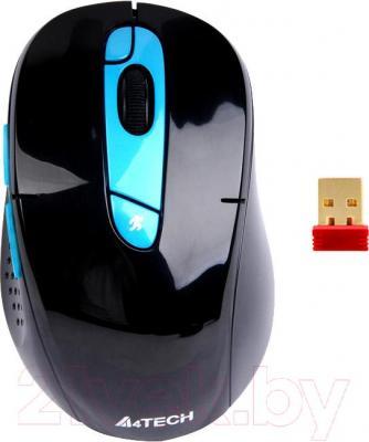 Мышь A4Tech G11-570HX-3 (черно-синий) - общий вид с приемником