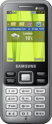 Мобильный телефон Samsung C3322i Dual (черный) - вид спереди