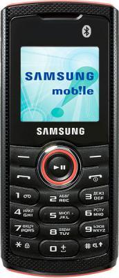 Мобильный телефон Samsung E2121 Black with Red (GT-E2121 ARBSER) - вид спереди
