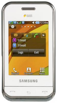 Мобильный телефон Samsung E2652 Champ White - вид спереди