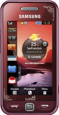 Мобильный телефон Samsung S5230 Star Wine Red with Pattern (GT-S5230 GRMSER) - вид спереди